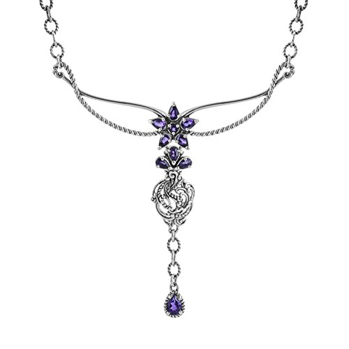 Carolyn Pollack Amethyst Flower Drop Statement Necklace
