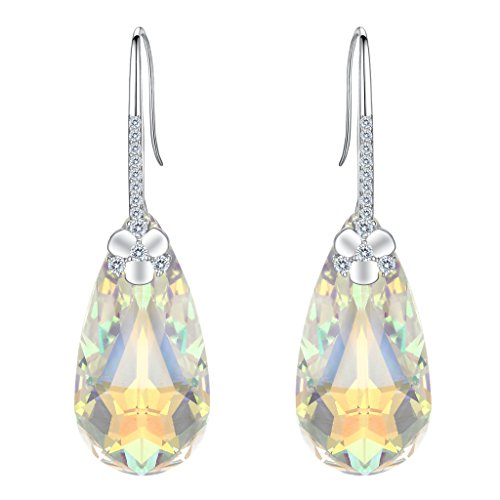 EleQueen 925 Sterling Silver CZ Teardrop Flower Hook Dangle Earrings Iridescent Aurora Borealis Made with Swarovski Crystals