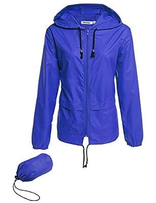 cosway Womens Waterproof Rainwear Lightweight Hoodie Raincoat Outdoor Sport Jacket