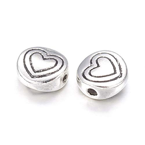 Lead Free Pewter Heart - Craftdady 50Pcs Antique Silver Flat Round with Heart Pattern Spacer Beads 6.5mm Tibetan Lead Free & Cadmium Free Metal Coin Disc Loose Beads for DIY Jewelry Making with 1mm Hole