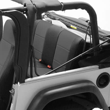 Coverking Custom Fit Seat Cover for Jeep Wrangler TJ 2-Door - (Neoprene, Black/Charcoal)