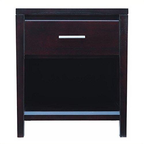 Modus Furniture NV2381 Nevis One Drawer Nightstand, Espresso