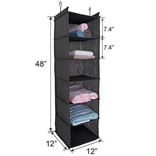 MAXhouser 6-Shelf Hanging Closet Organizer,Grey