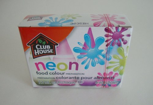 Club House Food Colour NEON LIQUID FOOD COLORING KIT of 4 colors (0.25 oz each) by McCormick