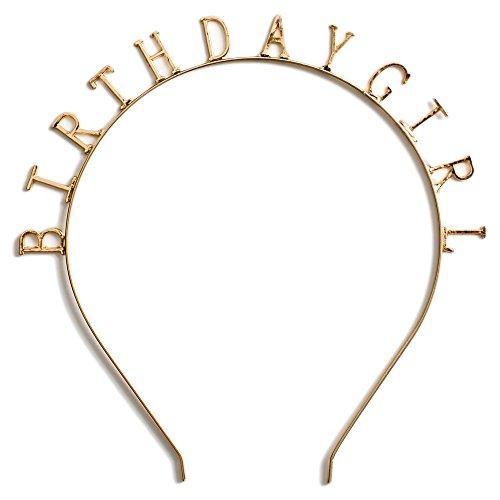 Hey Hey Hooray New to Amazon Birthday Girl' Gold Metal Headband / Crown