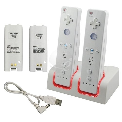 New 2 Battery Packs - KLAREN New 2 Battery Packs+Remote Controller Charger for Wii