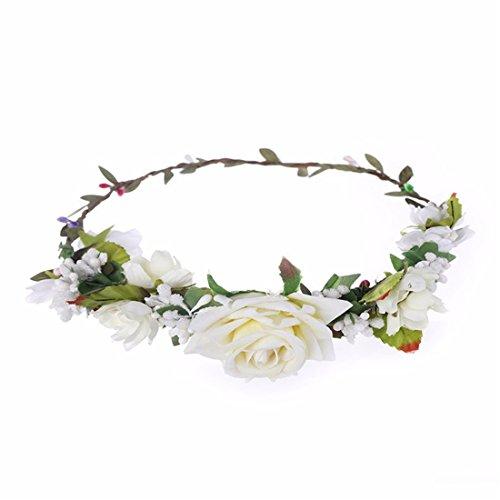 Qhome Berries Rose Flower Garland Headbands Wreath for Wedding Festivals