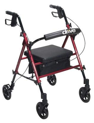 Rollator Aluminum Withadj. Seat Height Red, 16 Pound