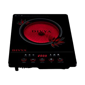 DIVYA DP-44 2000W Infrared Cooktop with Grill, Black
