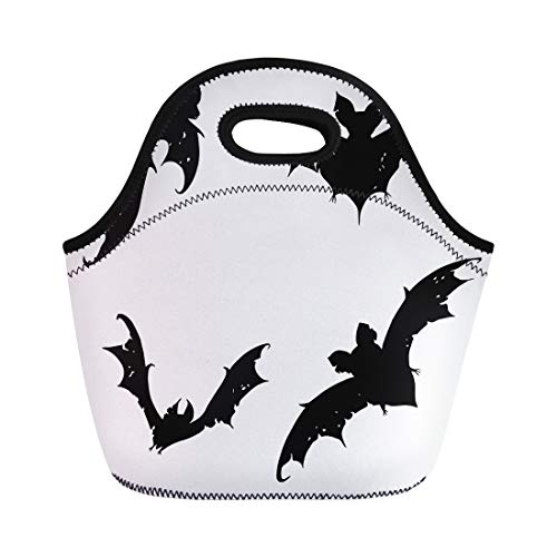 Tinmun Lunch Tote Bag Bats Collection of Flying Halloween Cartoon Line Drawing Doodle Reusable Neoprene Bags Insulated Thermal Picnic Handbag for Women Men -