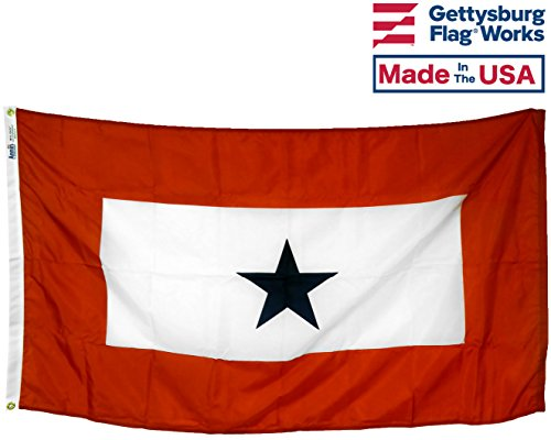 Blue Star Flag - 3x5' Service Star Flag (1 Blue Star) All- Weather Nylon Outdoor Flag Made in USA