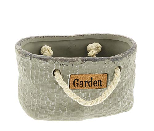 Cast Rope Collection - The Bridge Collection Ceramic 'Garden' Sack Plant Cover with Rope Handles (3.5