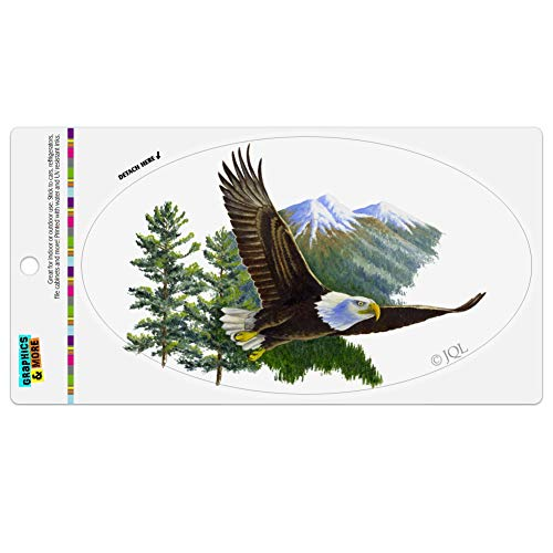 Graphics and More Bald Eagle Flying Over The Mountains Scenic Automotive Car Refrigerator Locker Vinyl Euro Oval ()