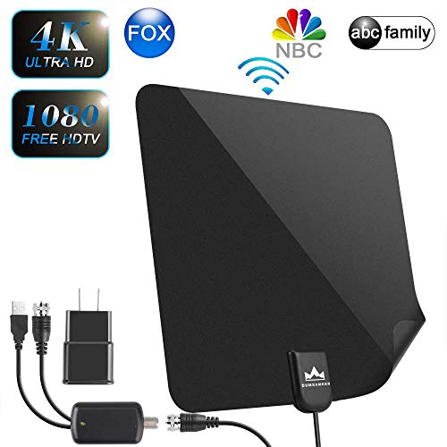 【2019 Latest】 HDTV Antenna Indoor Digital TV Antenna, DUMSAMKER 80-120 Miles Range HD Antenna with Amplifier Signal Booster and 13FT Coaxial Cable - Extremely High Reception