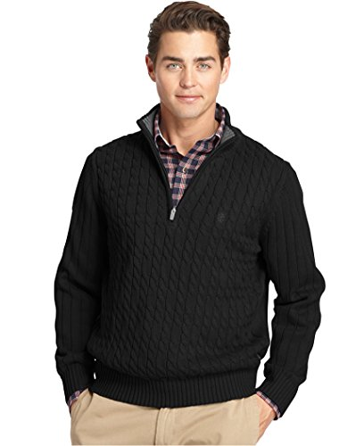 IZOD Men's Big and Tall 1/4 Zip Cable Sweater, Deep Black, 2X-Large Big (Izod Sweater Cable)