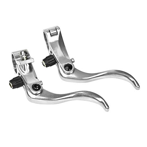 SolUptanisu 1pair Bike Brake Levers Aluminum Alloy 24mm Mountain Bike Disc Brake Bar Handle Level Cycling Accessory(2 Colors Optional) (Silver)