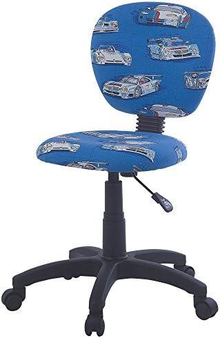 Kinder Zimmer Dreh Stuhl Stoff blau Renn Autos Fahrzeuge Jungen höhenverstellbar