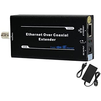HDView Ethernet & Power Over Coax Adapter Converter, EoC PoC, BNC & RJ45 Jacks, Send Ethernet and PoE Power Signal 3200ft Over Coaxial Cable, ...