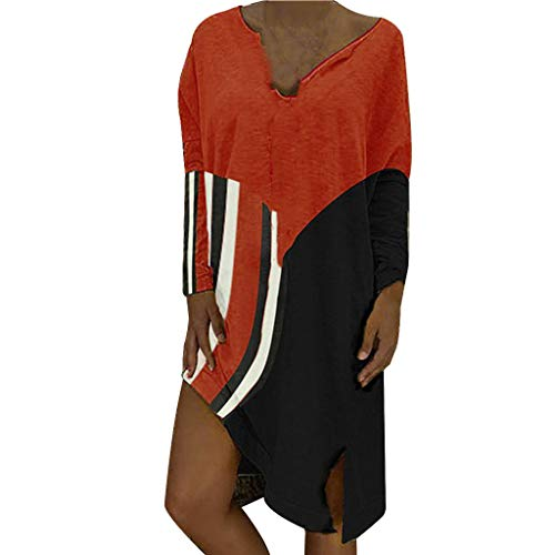 Garish ❤️❤️ Dresses Ladies, Plus Size Dress (S-XXXL), V-Neck Short Sleeve Knee Length, Vintage Boho Dresses for Womens Red