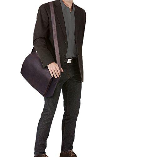 STILORD Alex Vintage Ledertasche Männer Frauen Businesstasche zum Umhängen 15,6 Zoll Laptoptasche Aktentasche Unitasche Umhängetasche Leder, Farbe:cognac - glänzend matt - dunkelbraun