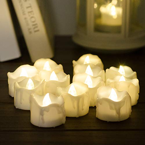 Timer Candles, 12pcs PChero Battery Operated LED Decorative Flameless Candles Flickering Tea Light, 6 Hours On and 18 Hours Off Per Cycle, Perfect for Birthday Wedding Party Home Decor - [Warm White] by PChero (Image #3)