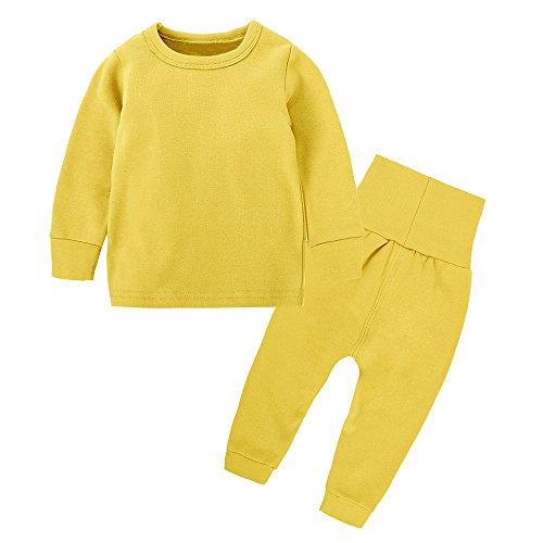 Kids Boys Girls Cotton Long Sleeves Thermal Underwear Pajama Set Toddlers Sleepwear Top Pant Set (3 Months-8 -