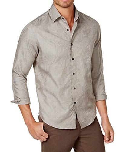 Tasso Elba Mens Marcus Printed Cuff Sleeves Button-Down Shirt Taupe XL -