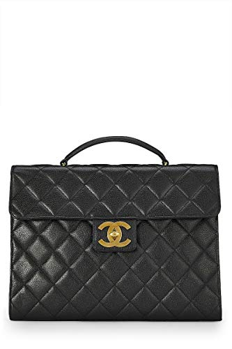 - CHANEL Black Quilted Caviar Briefcase (Pre-Owned)