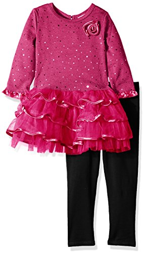 Youngland Girls' Little Sparkle Brushed Sweater Knit and Mesh Tiered Dress, Pink, 5
