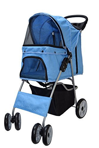 vivo-four-wheel-pet-stroller-for-cat-dog-and-more-foldable-carrier-strolling-cart-multiple-colors-bl