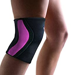 Knee Sleeve and Knee Brace - Superior Knee Support for Squats Weightlifting and Powerlifting - Comes with Two (2) Knee Sleeves 5MM Neoprene by Athlos Fitness (Black/Pink, M)