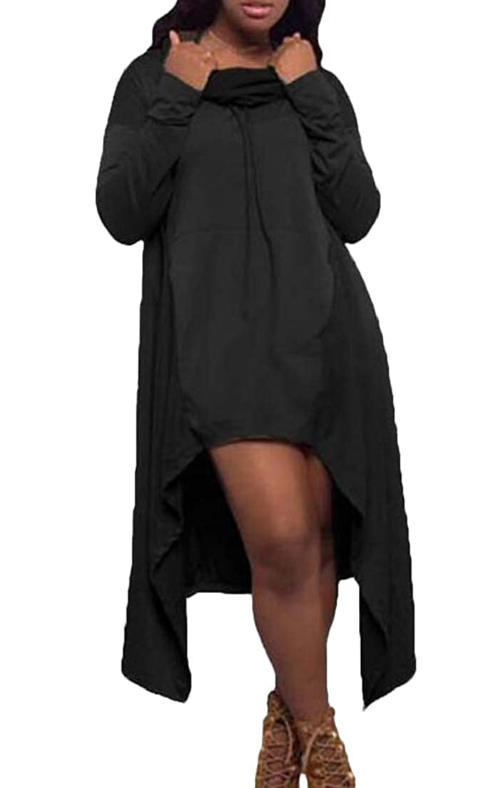 Zantt Women Irregular Hem Drawstring Hoodie Basic Sweatshirt Dress