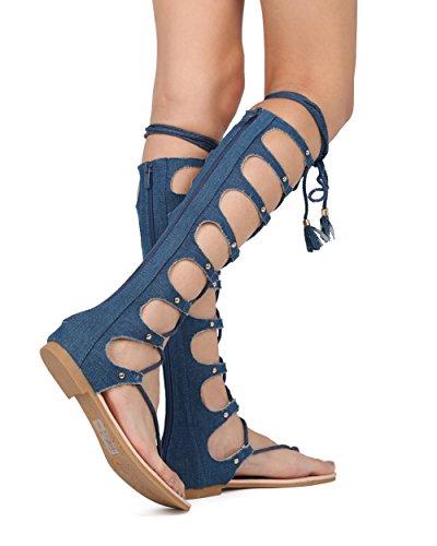 Sandalo Piatto Al Gladiatore Infradito Donna Alrisco Con Lacci - Hf47 Per Top Collezione Blue Denim