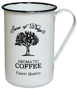 Coffee Cup - Enamelware Aromatic - Primitive Country Rustic Distressed Enamel Black (Enamelware Coffee)