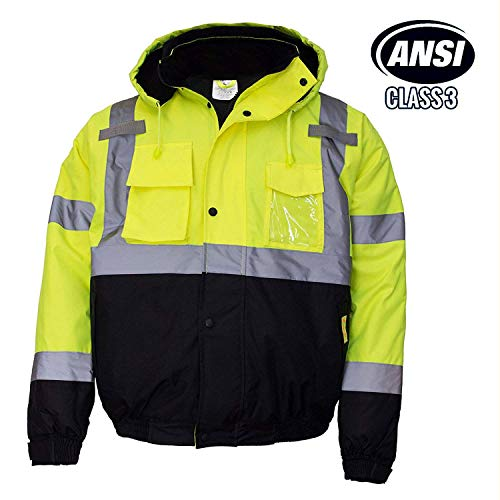 Troy Safety WJ9012 Men's ANSI Class 3 High Visibility Bomber Safety Jacket, Waterproof (Large, ()