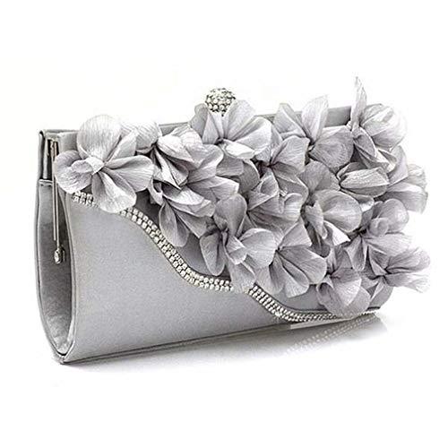 - ULKpiaoliang Lady Satin Clutch Bag Flower Evening Party Wedding Purse Chain Shoulder Handbag Silver