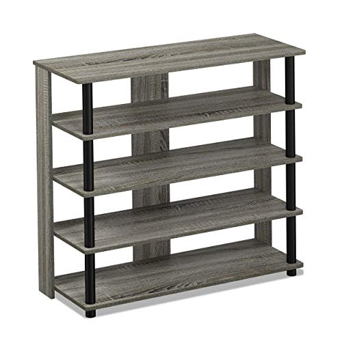 FURINNO Turn-N-Tube 5 Tier Wide Shoe Rack, 31.3' W, French Oak Grey/Black