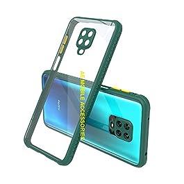 AE Mobile Accessories Back Cover for Redmi Note 9 Pro/Redmi Note 9 Pro Max, Miqilin Series Tranparent Shock Proof Smooth Rubberized Matte Hard Back Cover (Dark Green)