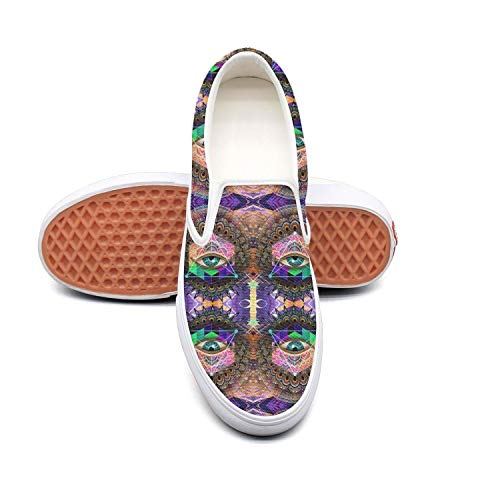 Women's Athleisure Fashion Shoes Bohemian Evil Eye Psychedelic Trippy Comfortable Loafers Slip on Christmas Sneakers