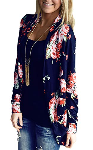 Women's Long Sleeve Cardigans Floral Printed Open Front Draped Kimono Loose Cardigan Blue S ()