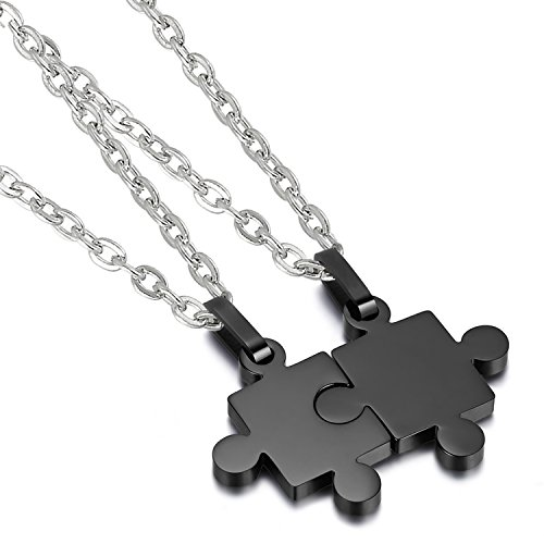 Cupimatch 2 Pieces Stainless Steel Puzzle Matching Pendant Couple Necklace Set with 18