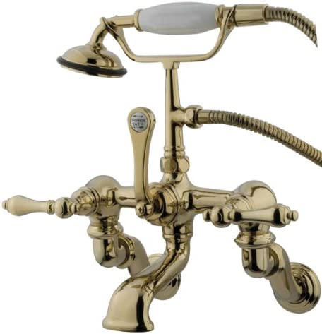 Kingston Brass CC457T5 Vintage Wall Mount 7-Inch Spread Tub Filler with Hand Shower Oil Rubbed Bronze