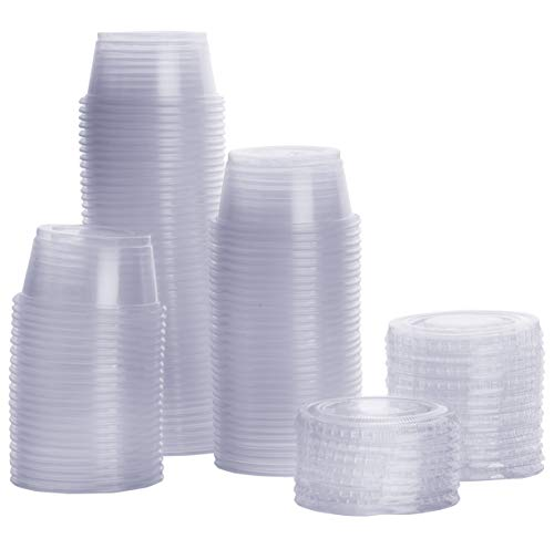 - [100 Sets - 2 oz.] Plastic Portion Cups With Lids, Souffle Cups, Jello Shot Cups