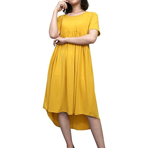 FEITONG 9 Colors Women's Scoop Neck Pockets High Low Pleated Loose Swing Irregular Casual Midi Dress(Small,Yellow)