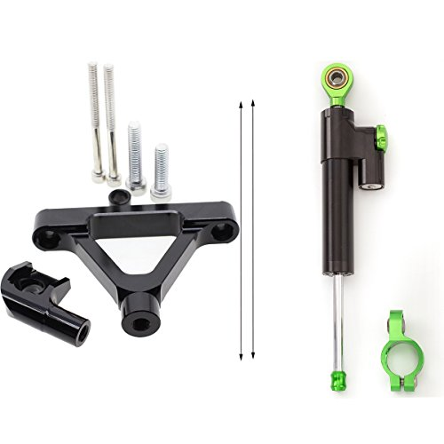 FXCNC Racing Motorcycle CNC Steering Damper Stabilizer Buffer Control Bar With Mounting Bracket Kit Full Set Fit For KAWASAKI ZX6R 2007-2008 ()