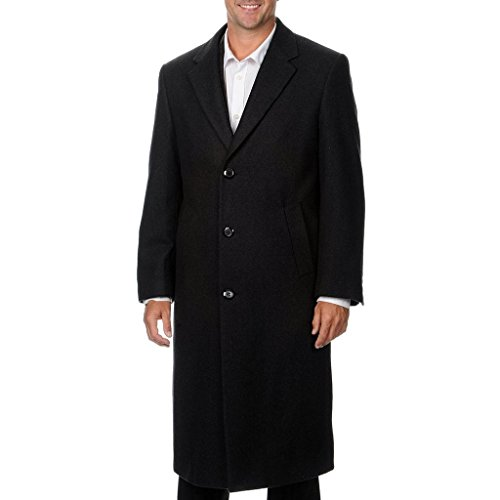 Men's Single Breasted Charcoal (40812) Luxury Wool Full Length Topcoat, Size 36 Short