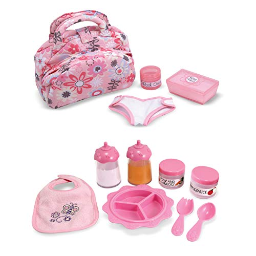 Melissa & Doug Doll Feeding and Changing Accessories - Bib, Bag, Diaper, Wipes, Utensils, ()