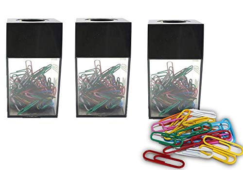 (1InTheHome 3 Large Magnetic Paper Clip Dispenser with 300 Clips)