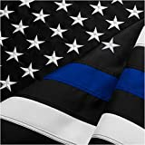 FBNC Thin Blue Line Flag 4x6 Ft: Durable Nylon Police Flag with Embroidered Stars and Brass Grommets - Proud to be a Law Enforcement Officer