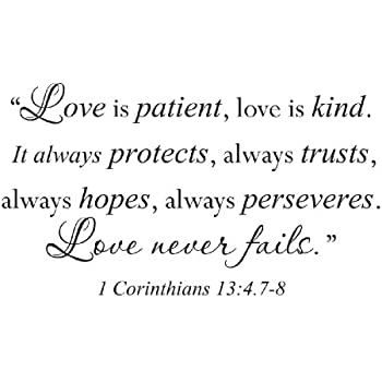 Amazon Wall Sticker Quote Vinyl Decal Love Is Patient Kind Stunning Corinthians Love Quotes